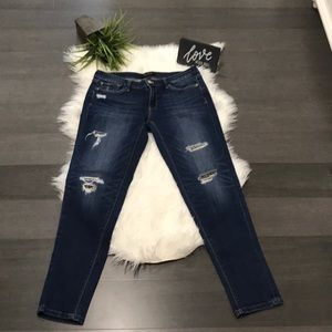 WHBM Leopard Patch Jeans